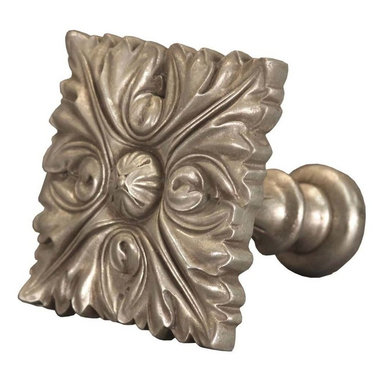 The Merchant Source - Top Treatment/Tieback - Square Leaf (Antique Silver) - Finish: Antique Silver. Made of Resin. 3.5 in. return. 5.5 in. L x 6.5 in. W (3 lbs.)