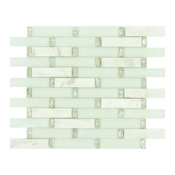 "Euro Glass - Ice Basket 1"" x 4"" White Kitchen Glossy & Frosted Glass and Stone - Sheet size:  11 3/4"" x 13 1/4""   Tile Size:  7/8"" x 3 7/8""   Tiles per sheet:  72    Tile thickness:  1/4""   Grout Joints:  1/8""   Sheet Mount:  Mesh Backed     Sold by the sheet    -"