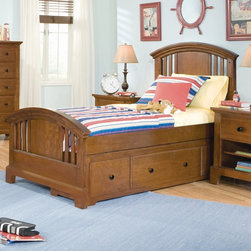 American Woodcrafters - Bradford Panel Bed Multicolor - AWR795 - Shop for Beds from Hayneedle.com! The Bradford Panel Bed is a wonderful bed for your boys room. This beautiful bed has an optional storage drawer if your little guy needs a little help picking up his clutter. Or if sleepovers are in order this bed offers the option of a slide-out trundle bed. The bed's meticulous Mahogany solid construction is reinforced by Cherry veneers adding ensured longevity and it's completed by a Rich Cherry finish. About American WoodcraftersFor unparalleled quality and value choose American Woodcrafters for your youth or master bedroom furniture. Founded in 1996 as a division of Rockford Capital Corporation and located in High Point N.C. American Woodcrafters is the brainchild of John N. Foster. His 40 years of experience in manufacturing marketing and product development inspire the company to deliver superior furniture designs of exceptional value. Each exquisite furniture piece is well-made and creatively styled with a fine quality finish and innovative features to make your home more beautiful and functional.