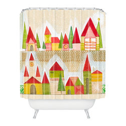 DENY Designs - DENY Designs Cori Dantini Christmas Village Shower Curtain - Who says bathrooms can't be fun? To get the most bang for your buck, start with an artistic, inventive shower curtain. We've got endless options that will really make your bathroom pop. Heck, your guests may start spending a little extra time in there because of it!