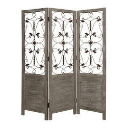 Hampton Screen - Frame your room with stylish delicacy, when you use this elegant screen as a separator. The frame of the screen is constructed from solid wood and stained in a warm grey finish. The sophisticated scrolls and leaves are handmade and finished in an antique brass sheen on both sides. This screen is three-dimensional art for your contemporary decor.