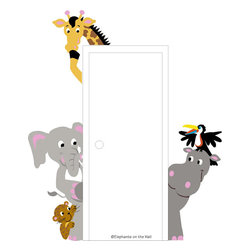 Elephants on the Wall - The Menagerie of Doorhuggers Paint by Number Wall Mural - The Menagerie of Doorhuggers Paint by Number Wall Mural