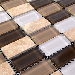 Home Elements - Stone Glass Mosaic Tile kitchen backsplash bathroom wall - Product Description:Item#: STG0128Collection: Stone Glass MosaicColor: Color Blend(Leopard and Crystal Purple)Surface Finish: Glossy glass and stoneShape: RectangleChip Size: 1x2In. (23mm x 48mm)Thickness: 3/16 In. (5mm)Each sheet of this tile is approximately 1 sq ft per sheet and is mesh mounted on high quality fiber glass for easy installation of your mosaic tile projects.Application: Stone Glass Mosaic are impervious to the water, thus it is great for both interior and exterior use so moisture is not an issue. Stone Glass Mosaic are great on floors and walls and have been most popular in bathrooms, spas, kitchen backsplash, wall facades and pools as well as a variety of other applications.Characteristics: Stone Glass Mosaic has a zero water absorption rate, and this tile exceeds ANSI standards for water absorption for mosaic tile. It is strong, durable, contamination free, and only the best quality tiles are selected as our tiles are inspected for blemishes before shipment.