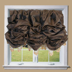 Drea' Custom Designs - Faux Silk Balloon Shade - Custom faux silk balloon shade with brown beaded trim.  Fully lined with suede back lining and flannel interlining.  Custom sizes, and colors available.