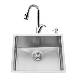 "VIGO Industries - VIGO All in One 23-inch Undermount Stainless Steel Kitchen Sink and Faucet Set - Revitalize the look of your kitchen with a VIGO All in One Kitchen Set featuring a 23"" Undermount kitchen sink, faucet, soap dispenser, matching bottom grid and sink strainer."