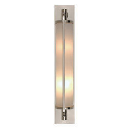 Keeley Tall Pivoting Sconce - A pair of modern flushmount fixtures are perfect for a bathroom vanity. Warm light will cast a flattering glow from this glass and chrome or polished nickel fixture. You'll be amazed at what a different good lighting makes.
