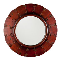 "Holly & Martin - Crockett Decorative Mirror - This decorative mirror features a broad 16"" round surface with gorgeous, round frame. The finish of the frame is a robust red with distressing and features panels stitched together with golden rope. Open walls in the entryway or family room are the perfect spot for such an artful piece. Work this mirror into rooms with classic or modern design for a unique sense of style. 30"" W x 3"" D x 30"" H."