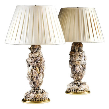 Eco Friendly Furniture and Lighting - England Circa 2010's A pair of contemporary shell-work grotto lamps. Covered with oysters, molluscs and coral
