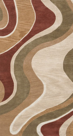 """Loloi Rugs - Loloi Rugs Abacus Collection - Beige / Rust, 5'-0"""" x 7'-6"""" - The Abacus Collection from China features a trendy series of rugs that pack a modern punch. Its poly-acrylic hand-tufted construction has the look and feel of wool while offering everlasting durability. What's more, its fun patterns are accented by an alluring looped texture that partners well with the cut pile for an added dimension of visual interest."""