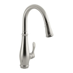 """Kohler - Kohler K-780-VS Vibrant Stainless Cruette Cruette Single Handle High - Cruette Single Handle High Arc Kitchen Faucet with Multi Function Pull Out Spray The Cruette pull-down kitchen faucet expands the traditional kitchen category by adding a single-handle integrated valve option for the kitchen. This faucet offers a superior clearance below the spout for filling and cleaning large pots with improved ergonomics and simpler operation even with wet or soapy hands.  1 or 3 hole installation (escutcheon included) High-arch spout design (16-3/4"""" ) creates more room for pots/pans 360 degree rotation offers superior clearance for a variety of sink activities Single forward facing lever handle is simple to use and easier to temper water Compact three function sprayhead with spray, aerated flow and pause function Features MasterClean(TM) sprayface that resists mineral buildup and is easy-to-clean ProMotion(TM) technology light, quiet nylon hose with ball joint configuration on the pull-down sprayhead provides superior ergonomic and easy-to-use functionality KOHLER finishes resist corrosion and tarnishing, exceeding industry durability standards over two times Flexible supply lines and KOHLER(R) installation ring simplify installation Meets CalGreen requirements for kitchen faucets Temperature memory allows faucet to be turned on and off at any temperature setting"""