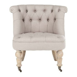 Safavieh Hudson Collection Baby Tufted Side Chair, Taupe - This chair has a classic elegance to it, which the linen fabric only enhances.