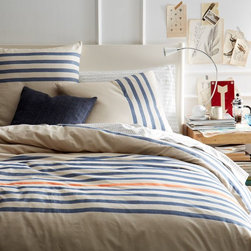 Playa Stripe Duvet Cover - The bright orange stripe in a sea of blue makes this duvet a winner in my book!