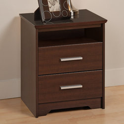 """Prepac - Espresso Coal Harbor 2 Drawer Tall Nightstand with Open Shelf - Make your nightstand do more with the modern Coal Harbor 2 Drawer Tall Nightstand. With two full-sized drawers primed for storing all your sundries, this bedside table also offers you a 5"""" high open shelf for those items you don't want totally hidden away. Pile your books, reading glasses, lamp, alarm clock and your usual items on top, all without compromising your bedroom's chic urban style. Combine it with other items in the Coal Harbor Bedroom Collection for a complete look!; Bevelled edges, angled cut-outs and 6"""" rectangular matte metal drawer handles; Inset drawers run smoothly on metal glides with built-in safety stops; Clear lacquered real wood drawer sides; Finished in durable rich espresso laminate; Constructed from CARB-compliant, laminated composite woods with a sturdy MDF backer; Ships Ready to Assemble, includes an instruction booklet for easy assembly and has a 5-year manufacturer's limited warranty on parts; Proudly manufactured in North America; Dimensions: Assembled dimensions: 20.5""""W x 27""""H x 15.75""""D; Open cubbie dimensions: 18.25""""W x 5""""H x 14.25""""D"""