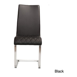 Matrix - Jemma Brushed Frame and Leatherette Side Chair - Guests will appreciate the gesture when you seat them in comfort and style with this leatherette dining room chair. This uniquely designed chair features pretty diamond stitching on its seat and it has a durable metal base for long service life.