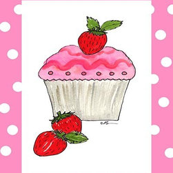 Oh How Cute Kids by Serena Bowman - Strawberry Cupcake, Ready To Hang Canvas Kid's Wall Decor, 20 X 24 - Each kid is unique in his/her own way, so why shouldn't their wall decor be as well! With our extensive selection of canvas wall art for kids, from princesses to spaceships, from cowboys to traveling girls, we'll help you find that perfect piece for your special one.  Or you can fill the entire room with our imaginative art; every canvas is part of a coordinated series, an easy way to provide a complete and unified look for any room.