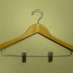 Proman Products - Gemin-Concave Suit Hanger With Wire Clips - Gemini-concave suit hanger with wire clips, 44.5Lx 1.2Tcm, natural lacquer, chrome, 100pcs/ctn