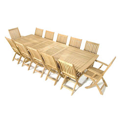 Westminster Teak Furniture - 13pc Veranda Rectangular Teak Outdoor Dining Set - Comes with 10 Barbuda Teak Folding Side Chairs, 2 Java Folding Teak Outdoor Dining Chairs, and 1 Veranda Teak Extendable Dining Table.  Accommodates optional umbrella while extended or collapsed.  Lifetime Warranty, Grade A Eco-Friendly Teak Wood.