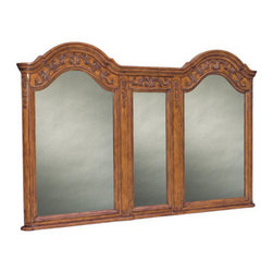 Ambella Home - Private Retreat Double Mirror - French Country inspired, this double mirror, which spans the width of the Private Retreat Double Sink Chest, has beautiful carvings in a pecan dusty wax finish.  W033. Dimensions: 69.5 in. x 2.5 in. x 44.5 in.