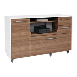 Format Mobile Credenza, Walnut and White