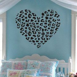 ColorfulHall Co., LTD - Wall Stickers For Bedrooms Leopard Print Heart Shape Heart - Wall Stickers for Bedrooms Leopard Print Heart Shape Heart