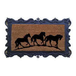 "A1 Home Collections - ""Running Horses"" Designer Doormat - This charming mat is durable and has thousands of coir bristles embedded in a rubber base that help capture and remove dirt and moisture from shoes. This mat is an excellent addition to your home."