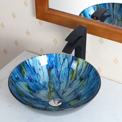 Elite - Elite Tempered Glass Vessel Sink - Give your bathroom an update,and give it artistic presence with the stunning Elite tempered-glass vessel sink. You may find that you wash your hands more often just to admire this glass sink with its gorgeous,blended blue and green streaks.