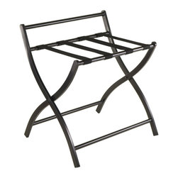 """Winsome Wood - Winsome Wood Legrand Luggage Rack - Folding in Black - Folding Legrand Luggage Rack in Black finish adds a elegant touch to your guest room. Provide a perfect spot to unpack and get organized. Overall open size is 23.62'W x 20""""D x 25.98""""H. Folded size 23.62""""W x 3.43""""D x 32.12""""H. Made from Metal in Black coating with Black Nylon Strap. Luggage Rack (1)"""