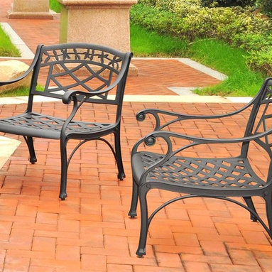 Crosley Furniture - Outdoor Arm Chair - Set of 2 - Set of 2. Transitional style. Contoured seat for comfort. Maintenance free. UV resistant. Non-toxic sealed powder coated finish. ISTA 3A certified. Warranty: 90 days. Made from heavy duty cast aluminum. Charcoal black color. Assembly required. Overall weight: 63.6 lbs.It may be hot outside, but youll feel cool kicking back in our heavy duty, solid-cast aluminum furniture. Designed for style and built to last, this outdoor conversation seating set will weather the harshest of outdoor conditions. Experience pure nirvana while unwinding in the chairs comfortable contoured seats. Your very own outdoor oasis awaits you!