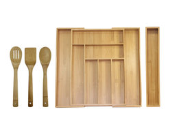 Oceanstar 5-Piece Bamboo Expandable Drawer Utensil Organizer Set - Get organized with Oceanstar's expandable drawer organizer set today! It is made out of strong bamboo, a fast-growing material that reduces environmental impact. This expandable drawer organizer set includes one Expandable Drawer Organizer, along with one Bamboo Turner Spatula, one Slotted Spoon, one Bamboo Spoon and one Bamboo Organizer Extender. It has 6 compartments and expands to 8 compartments in various sizes for knives, specialty utensils and prep tools. This is a perfect accessory for any kitchen. Present this organizer set to someone special as a wonderful housewarming or holiday gift.  Easy to maintain; simply wipe organizer with a damp cloth and wash bamboo utensils with mild soap and water, and dry thoroughly. No assembly required. The organizer measures 18 inches long, 12.75 inches wide and 2 inches high and expands to 18 inches L, 19.25 inches W and 2 inches H