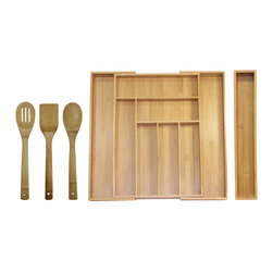 5 Piece Expandable Bamboo Utensil Organizer Set - Get organized with Oceanstar's expandable drawer organizer set today! It is made out of strong bamboo, a fast-growing material that reduces environmental impact. This expandable drawer organizer set includes one Expandable Drawer Organizer, along with one Bamboo Turner Spatula, one Slotted Spoon, one Bamboo Spoon and one Bamboo Organizer Extender. It has 6 compartments and expands to 8 compartments in various sizes for knives, specialty utensils and prep tools. This is a perfect accessory for any kitchen. Present this organizer set to someone special as a wonderful housewarming or holiday gift.  Easy to maintain; simply wipe organizer with a damp cloth and wash bamboo utensils with mild soap and water, and dry thoroughly. No assembly required. The organizer measures 18 inches long, 12.75 inches wide and 2 inches high and expands to 18 inches L, 19.25 inches W and 2 inches H