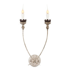 Kathy Kuo Home - Hass Antique Silver French Manor 2 Arm Wall Sconces - Pair - Our best selling Hass sconce now comes in our signature antique silver finish. These simple sconces are nothing but elegant!