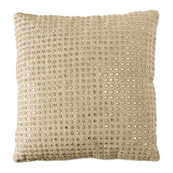 Embroidered Mirrors Pillow - Natural - Dotted with tiny, silvery reflective mirrors evenly placed in a square of natural-colored cloth, the square Embroidered Mirrors Pillow has a glamorous sequined flash that ripples with light within a subtler, sophisticated solid neutral hue.  The cool and gentle flax color coordinates with any d�cor, while the embroidery-edged mirrors are reminiscent of traditional Indochinese luxury fabrics.  Together, these design elements make a transitional treasure.