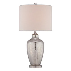 Quoizel - Quoizel QZ-CKNL1740T - The Nicolls is a stunning table lamp with contemporary flair.  The offwhite shade complements the bold curves of the radiant mercury glass base.