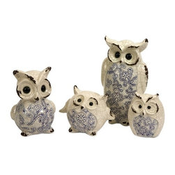 "IMAX CORPORATION - The Knight Family - Set of 4 - The family of four Knight family owls add a whimsical touch to any decor. With white crackle finishes and blue accents this set is sure to be a favorite. Set of 4 in various sizes measuring around 18.25""L x 12.25""W x 8""H each. Shop home furnishings, decor, and accessories from Posh Urban Furnishings. Beautiful, stylish furniture and decor that will brighten your home instantly. Shop modern, traditional, vintage, and world designs."