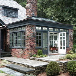 Conservatory with flat roof - Brick Orangery - Photo by: James Licata