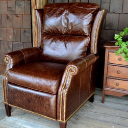 Custom Leather Reclining Arm Chair -