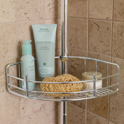 "Frontgate - Extra Basket Accessory for Tension-mount Shower Butler - Each basket is multipurpose. One basket features an integrated soap dish with drain holes. A second basket is open-ended so long-handle brushes or loofahs can rest horizontally. A third basket has a bar for hanging washcloths and 2 razor holders. Spring-tension mounting offers easy, one person installation, with no tools needed. Our Tension-mount Shower Butler exceeds others by offering more strength, more space, and more features for increased functionality. This shower organizer features three deep 3-1/2""H baskets to securely contain heavier, larger shampoos, pump soaps, and gels.. . . . . Pole expands from 5'6"" to 9'1""H to accommodate most showers."