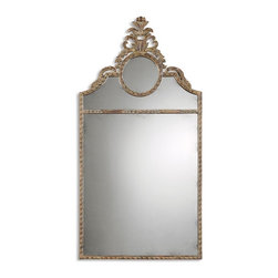 Old World French Wall Mirror - *Features a distressed, chestnut brown finish with mahogany undertones, black speckling and a light gray glaze.