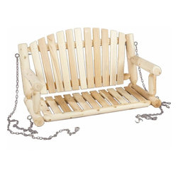 Rustic Cedar Porch Swing Seat and Chain - 4 ft Cedar - Relax the hours away in our romantic porch swing made of natural Northern White Cedar. Traditional styling and a smooth-sanded surface make this porch swing a favorite. Known for its beauty  practicality  and durability  cedar is also naturally resistant to decay  insect  and weather damage. The hanging chain and coated hardware are included for easy installation.