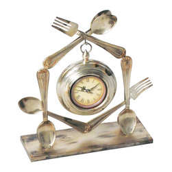 Sterling Industries - Sterling Industries Utensil Clock X-0120-15 - A charming design inspired by the kitchen, perfect for dining rooms or other settings, this Sterling Industries utensil clock is delightful. Multiple forks and spoons frame the central hanging clock, which features antique styling. The entire piece features faux aged distressing, adding heirloom charm to the design.