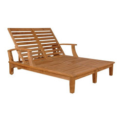 "Anderson Teak - Brianna Double Sun Lounger w Arm - Unfinished - Two can relax in the sun or the shade comfortably on our double-chaise teak loungers.  Angle them for intimate conversations or flatten to catch rays by the pool.  Slatted frame is long enough for most adults and rear legs feature inset wheels.  Share fun in the sun on a double lounger.  Teak frame incorporates central supports with embedded rear wheels that make shifting easy. * Adjusts to 4 different positions, including completely flat. With arms. Solid Teak wheels. Teak wood construction. Perfect for poolside reading in the sun. 80 in. L x 31 in. W x 14 in. - 24 in. H (155 lbs.)Our most popular piece, the Sun Lounger has been called by some, ""The most comfortable Sun Lounger they have ever relaxed in. "" With its solid Teak wheels, it can be easily moved in or out of the sun."