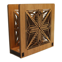 """Lightwave Laser - Frank Lloyd Wright Dana Entry Light Napkin or Letter Holder - Perfect for dinner napkins or to hold the day's mail. The Frank Lloyd Wright design of this laser-cut wood holder in cherry finish is adapted from the entry hanging light fixture in the Susan Lawrence Dana House (Springfield, IL,1902-1904). Dimensions: 6"""" wide x 6"""" tall x 2.5"""" deep."""