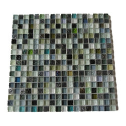 "GlassTileStore - Calypso Glass Tiles - Calypso Glass Tiles             Add a happy bursts of color to any room with this beautiful glass tile with a combination of textured and polished glass. This colorful design will give your kitchen, bathroom or any decorated room a bright, and fresh look.         Chip Size: 5/8"" x 5/8""   Color: Variety of Colors - Black, Shades of Green, White, Gray, Lilac, Iridescent   Material: Glass    Finish: Polished and Textured    Sold by the Sheet - each sheet measures 12"" x 12"" (1sq. ft.)   Thickness: 8 mm   Please note each lot will vary from the next."
