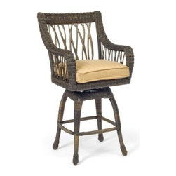 Woodard Serengeti All Weather Wicker Swivel Bar Stool - When it comes to the Woodard Serengeti All Weather Wicker Swivel Bar Stool, you'll want to snag a couple - you and yours will want to take a seat in every one. These pretty, practical pieces have all the appeal of traditional swiveling stools with all the unexpected allure of their namesake. Sure, your backyard might not have the exotic-animal-filled views of Africa's Serengeti, but it does have plenty to see when there's a party playing out on a warm summer night.The stool starts with durable, all-weather resin wicker, hand-woven over a sturdy aluminum frame built to withstand all those at-home fetes. The wicker is tightly woven along the top of softly curved arms and back, as well as around the curved lower apron, but it gets a lot of life from the branch-like open weave along the sides and back. The stool swivels smoothly atop the tightly woven, four-legged base, given additional support from lower stretchers. Adding modern flair is a simple square cushion, available in a range of organic shades, all made of super-practical Sunbrella fabric that boasts a five-year warranty against fading.The stool is shipped fully assembled for immediate use and includes a three-year limited warranty. It's maintenance-free, too - simply hose off the wicker each season to keep it fresh. And, of course, all your fresh conversation will keep get-togethers interesting from every angle. Please note: This item is not intended for commercial use. Warranty applies to residential use only.About Sunbrella FabricSunbrella fabric is breathable and water-repellent. If kept dry, it will not support the growth of mildew as natural fiber will. It's easy to clean, requiring simple dusting off and soap and water. Beautiful and durable, Sunbrella fabric is a name you can trust in your outdoor furniture.All-weather Resin WickerSome of the most beautiful furniture is crafted using man-made resin wicker. Resin wicker is a synthetic plastic colored all the way through and stretched over a metal wire core. The resin is made with UV inhibitors to protect the resin from fading in sunlight. Resin products don't chip, break or get brittle with UV exposure. It's a beautiful, long-lasting choice in furniture that's easy to care for, requiring an occasional dusting and wipe-down with a damp cloth.Important NoticeThis item is custom-made to order, which means production begins immediately upon receipt of each order. Because of this, cancellations must be made via telephone to 1-800-351-5699 within 24 hours of order placement. Emails are not currently acceptable forms of cancellation. Thank you for your consideration in this matter.Woodard: Hand-crafted to Withstand the Test of TimeFor over 140 years, Woodard craftsmen have designed and manufactured products loyal to the timeless art of quality furniture construction. Using the age-old art of hand-forming and the latest in high-tech manufacturing, Woodard remains committed to creating products that will provide years of enjoyment.Most Woodard furniture is assembled by experienced professionals before being shipped. That means you can enjoy your furniture immediately and with confidence.Together, these elements set Woodard furniture apart from all others. When you purchase Woodard, you purchase a history of quality and excellence, and furniture that will last well into the future.Read more about the Woodard Guarantee by clicking the link on the product page.