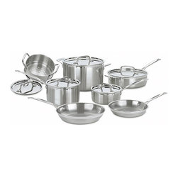 Cuisinart - Cuisinart Multiclad Pro Stainless Steel 12-piece Cookware Set - Elegant and contemporary,the Multiclad Pro line from Cuisinart consists of deluxe cookware for the professional home chef.  This set has no coatings to flake off or plastic to melt,and will surely be passed down to the next generation.