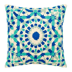 Delight in Indigo Decorative Pillow - Made from 100 percent natural cotton, these hand embroidered decorative pillows will delight your senses and arouse newfound creativity. The brightly colored orange and pink sunburst patterns evoke memories of youthful freedom, filling your heart and home with light. Dry clean only, each pillow comes with a synthetic down insert.