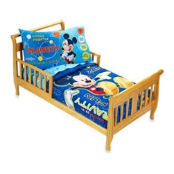 "Disney - Crown Crafts Disney Mickey Mouse ""Space Adventure"" 4-Piece Toddler Set - This adorable toddler set by Crown Crafts features Mickey Mouse learning about outer space. The set includes a toddler quilt, top flat sheet, fitted sheet ad standard pillowcase."