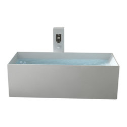 Badeloft - Modern Rectangle Stone Resin Body Forming Freestanding Bathtub - BW-06 - Freestanding bathtub for your wellness oasis.  This Modern, Rectangular Shaped, Freestanding Bathtub is made out of stone resin.  Comes in Matte White.  Comes with built-in overflow protection and a chrome pop-up plug drain.