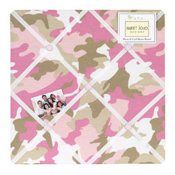 Sweet Jojo Designs - Camo Pink Fabric Memo Board - The Camo Pink Fabric Memo Board with button detail is a great way to display photos, notes, and postcards on your child's wall. Just slip your mementos behind the grosgrain ribbon to create an engaging piece of original wall art. This adorable memo board by Sweet Jojo Designs is the perfect accessory for the matching children's bedding set.