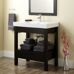 "32"" Sylar Console Vanity - Update a bath with the refreshing look of the 32"" Sylar Console Vanity in a striking Black finish. This modern vanity features an integral sink with towel bars."